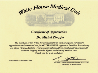 Certificate White House Medical Unit